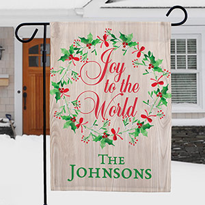 Personalized Joy to the World Garden Flag | Personalized Christmas Flags