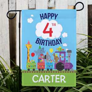 Personalized Birthday Train Garden Flag | Personalized Birthday Garden Flag