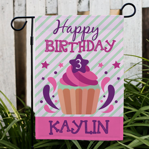 Personalized Colorful Cupcake Garden Flag | Personalized Birthday Flags
