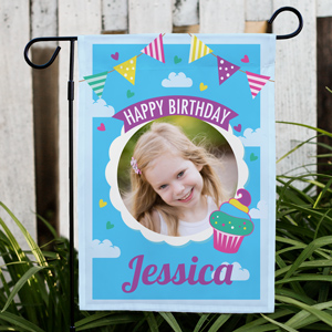 Personalized Photo Sky Confetti Garden Flag | Personalized Birthday Garden Flag