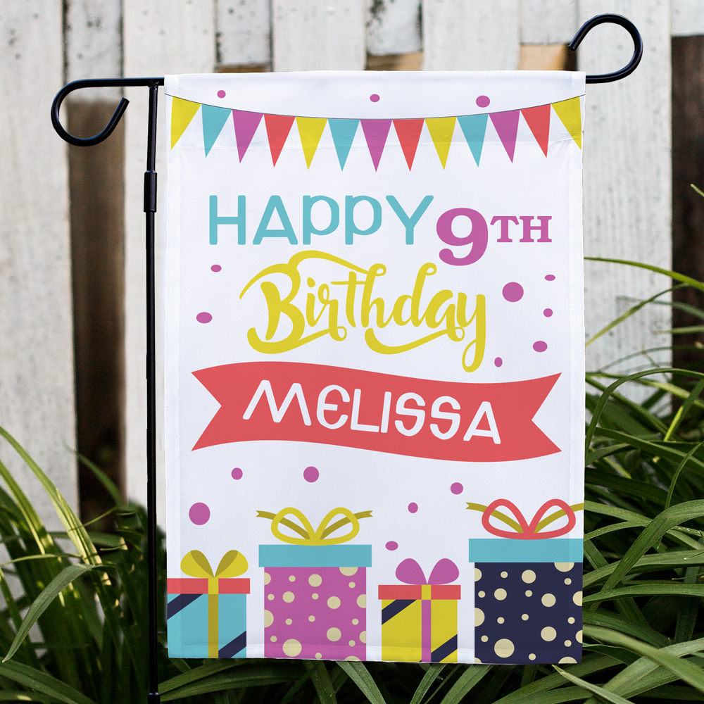 Personalized Birthday Presents Garden Flag | Personalized Birthday Flags