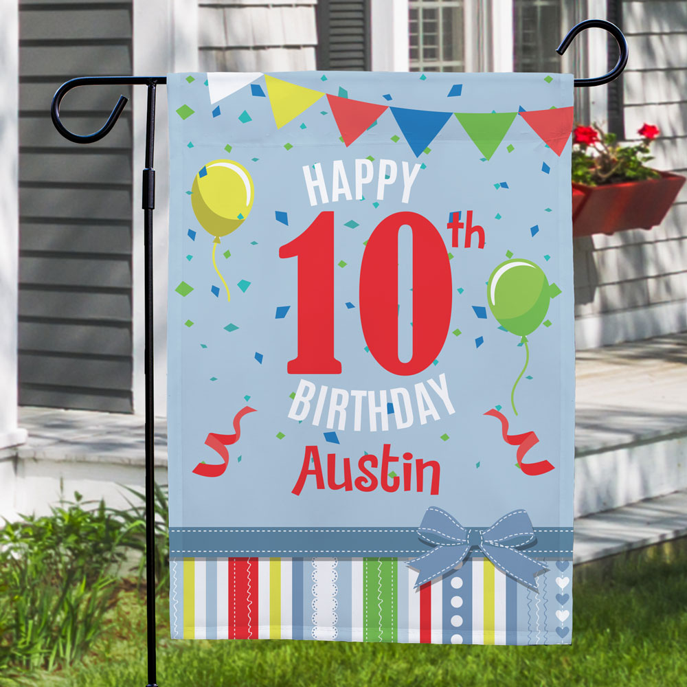 Personalized Confetti and Balloons Birthday Garden Flag | Personalized Birthday Flags