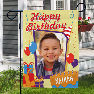 Personalized Happy Birthday Photo Garden Flag | Personalized Birthday Gifts
