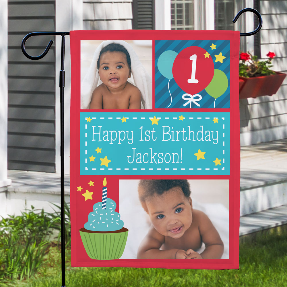 Personalized Balloons and Cupcakes Garden Flag | Personalized Birthday Flags