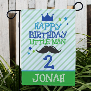 Personalized Happy Birthday Little Man Garden Flag | Personalized Birthday Flags
