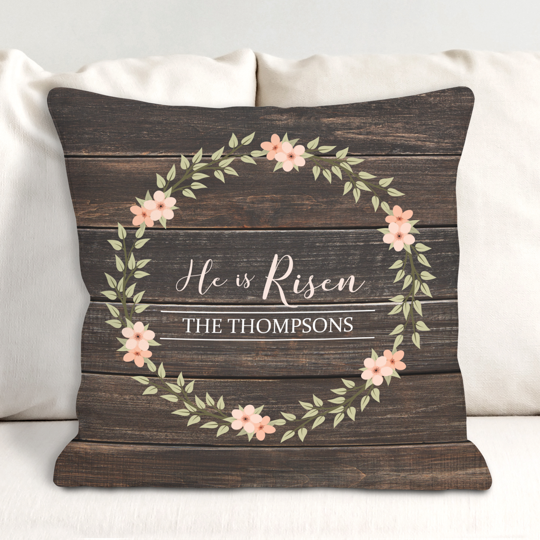 Personalized He is Risen Throw Pillow | Religious Home Decor
