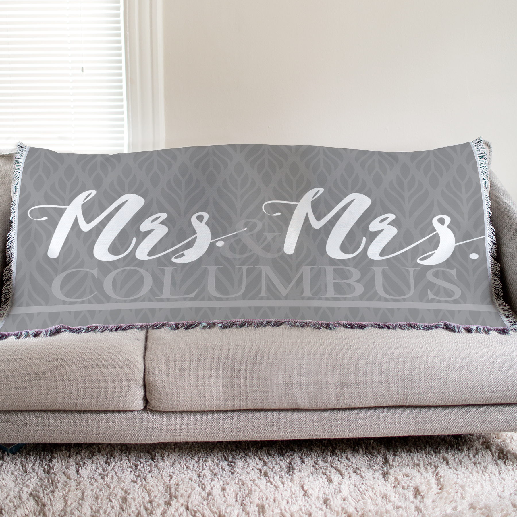Personalized Mr and Mrs Wedding Tapestry Throw | Personalized Wedding Throws