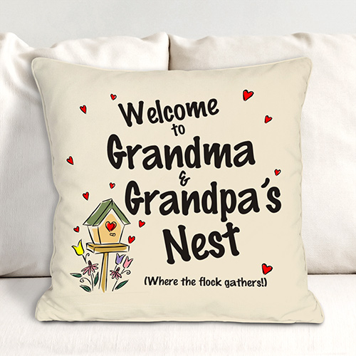 Personalized Our Nest Throw Pillow | Personalized Gifts For Grandparents