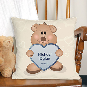 Teddy Bear New Baby Personalized Throw Pillow 83029523