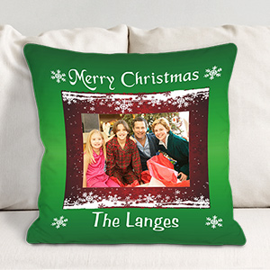 Merry Christmas Personalized Photo Throw Pillow 83031033