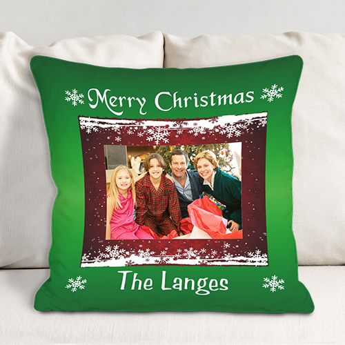 Merry Christmas Personalized Photo Throw Pillow | Personalized Christmas Decor