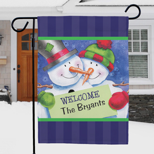 Personalized Snow Couple Garden Flag | Personalized Christmas Flag