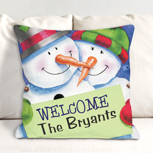 Personalized Christmas Welcome Throw Pillow | Personalized Christmas Decor