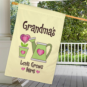 Personalized Love Grows Here House Flag | Personalized Gifts For Grandma