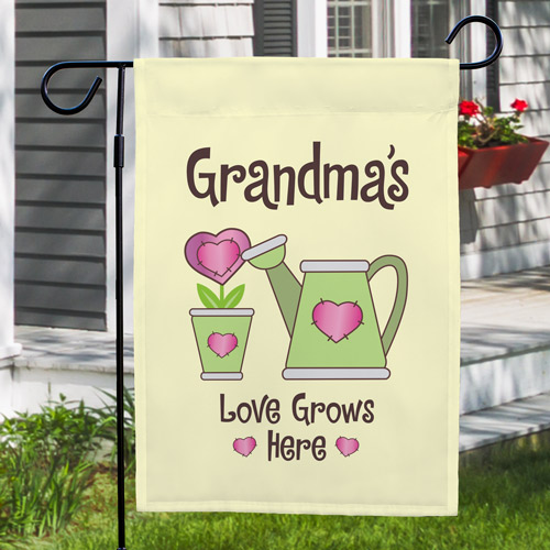 Personalized Love Grows Here Garden Flag | Personalized Gifts For Grandma