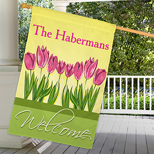 Personalized Spring Tulips House Flag 83033282L