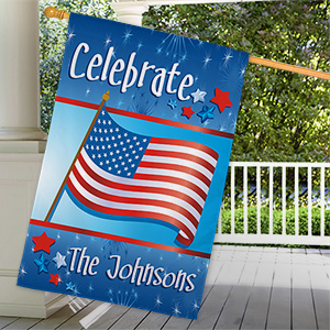 Personalized July 4th Celebration Personalized House Flag 83033392L