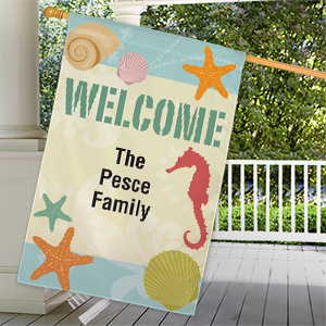 Personalized Seashells Welcome House Flag 83036152L
