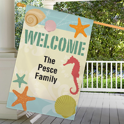 Personalized Seashells Welcome House Flag | Personalized House Flags