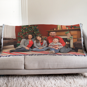 Personalized Holiday Photo Tapestry Throw Blanket | Personalized Christmas Blankets