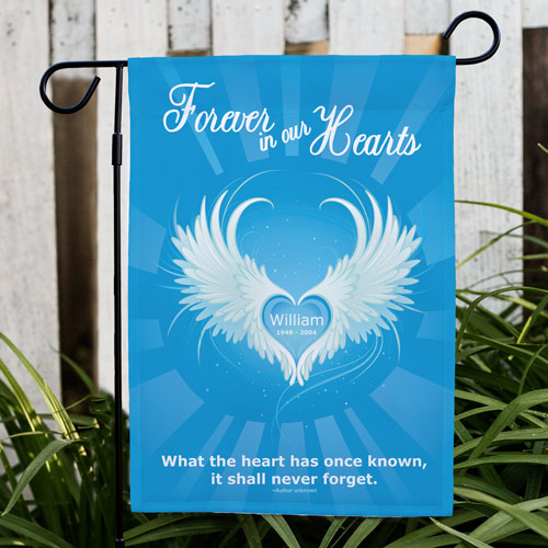Personalized Forever In Our Hearts Sympathy Garden Flag | Personalized Garden Flags