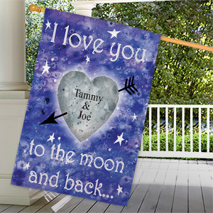 Personalized To The Moon and Back House Flag 83038782L