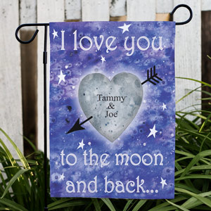 Personalized To The Moon and Back Garden Flag | Personalized Couple Gifts