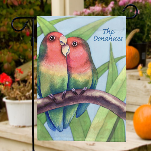 Personalized Love Birds Garden Flag | Personalized Garden Flags