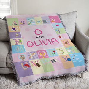 Personalized Pink Alphabet Tapestry Throw Blanket | Personalized Baby Gifts
