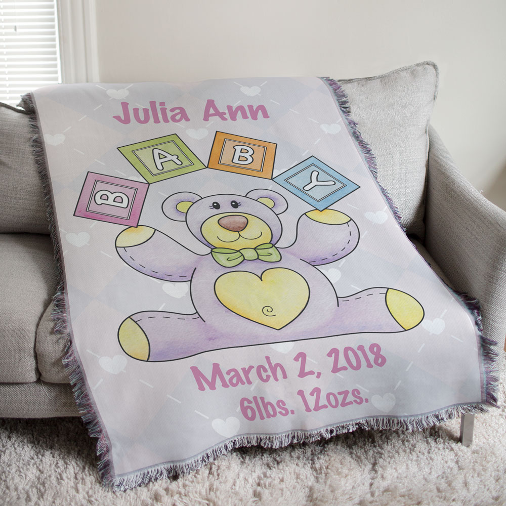 Personalized Baby Girl Teddy Bear Tapestry Throw Blanket | Personalized Baby Blankets