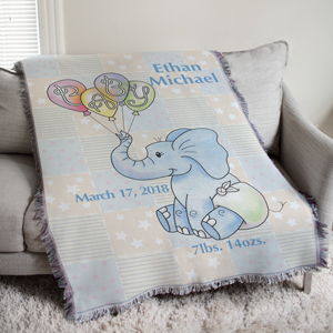 Personalized Baby Boy Elephant Tapestry Throw Blanket | Personalized Baby Gifts