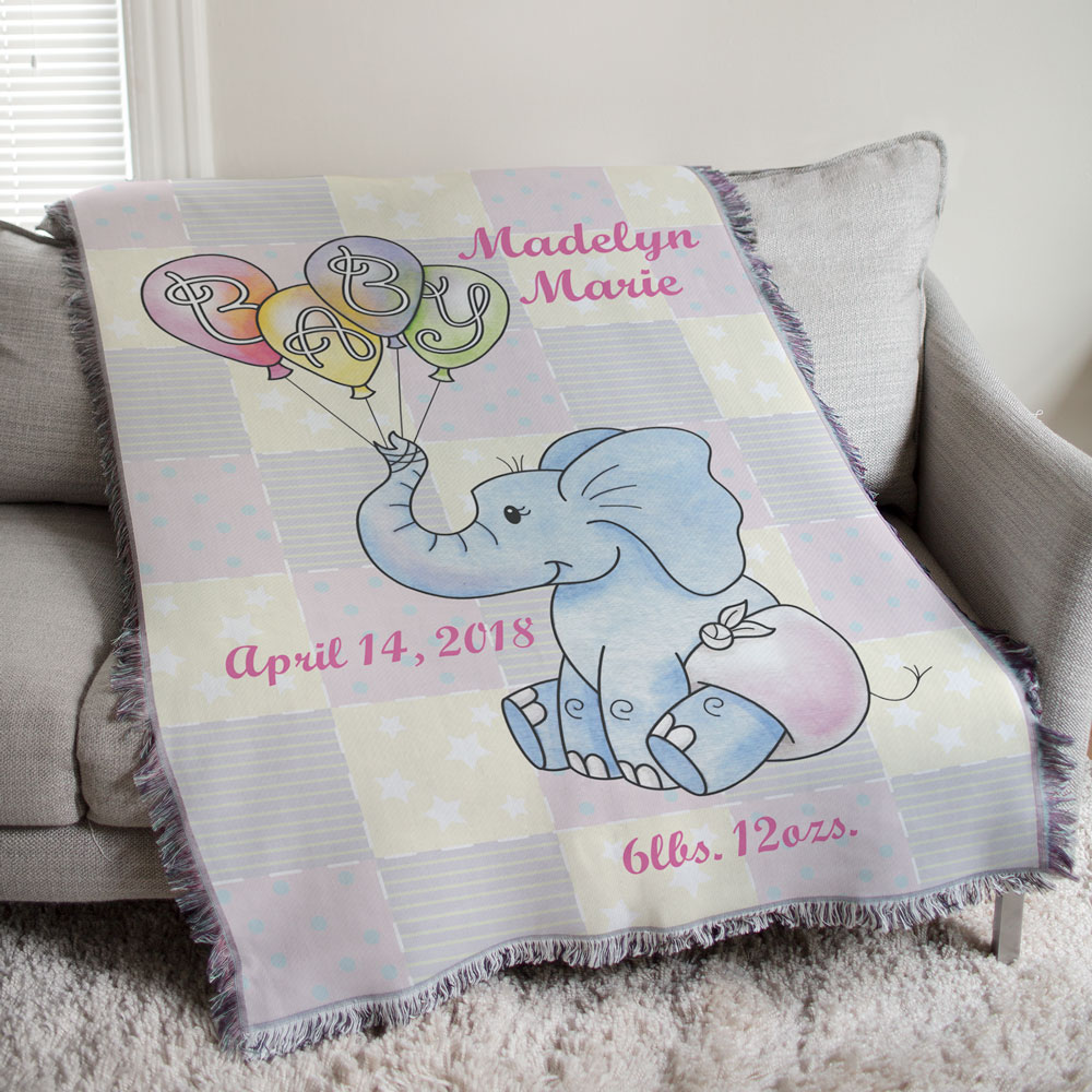 Personalized Baby Girl Teddy Bear Tapestry Throw Blanket | Personalized Baby Gifts