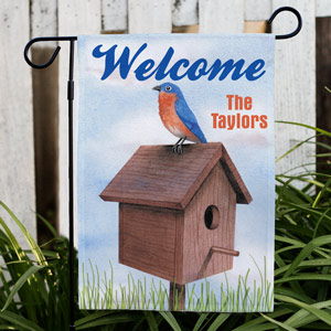Personalized Birdhouse Welcome Garden Flag 83041662