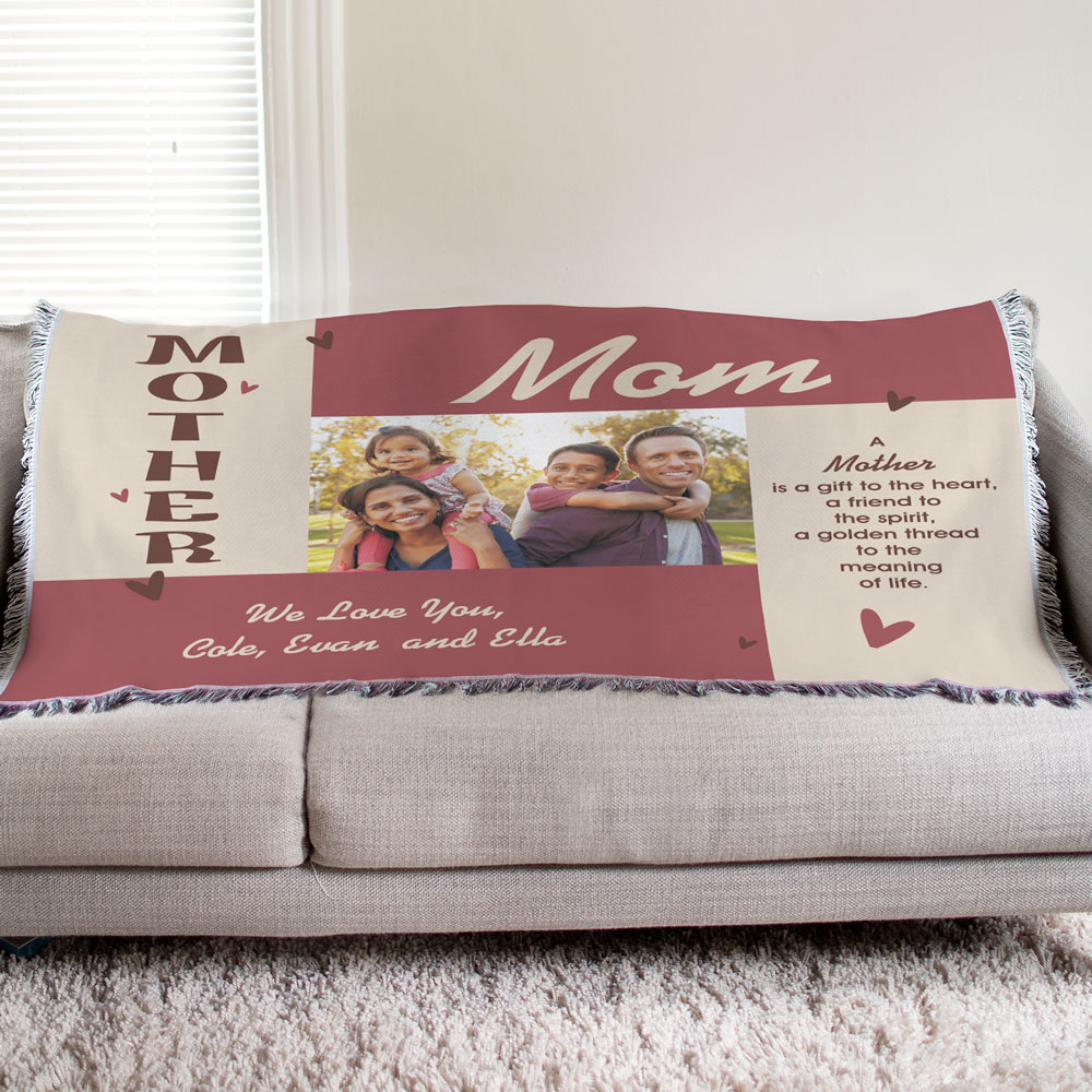 Personalized Mother Photo Tapestry Throw Blanket 83045475