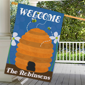 Personalized Beehive Welcome House Flag 8305542L