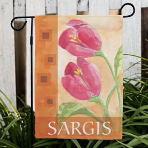 Personalized Red Tulips Welcome Garden Flag | Mother's Day Gifts