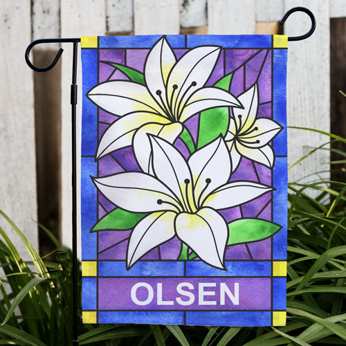 Personalized Lily Flowers Welcome Garden Flag | Spring Garden Flag