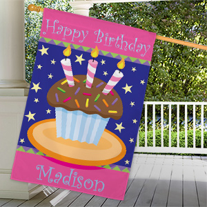 Personalized Birthday Cake House Flag 83055482L