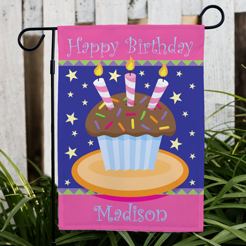 Personalized Birthday Cake Garden Flag | Personalized Garden Flags