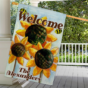 Personalized Sunflower Welcome House Flag 83055972L
