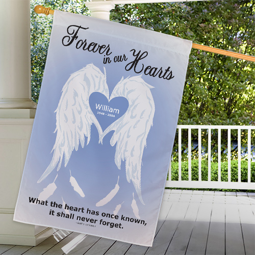 Personalized Forever In Our Hearts Memorial House Flag | Personalized Memorial Gifts