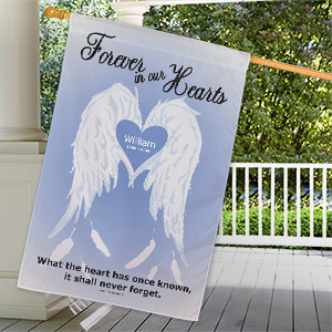 Personalized Forever In Our Hearts Memorial House Flag 83059012L
