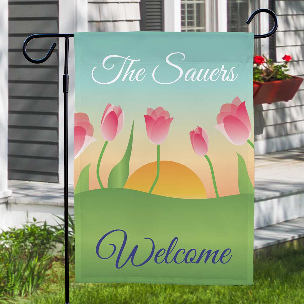 Personalized Spring Tulips Garden Flag | Personalized Garden Flags
