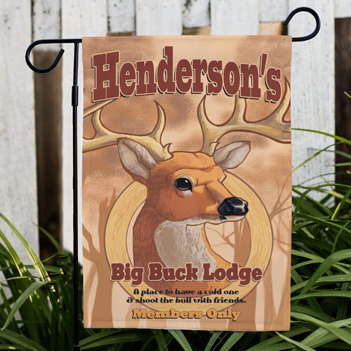 Personalized Big Buck Lodge Garden Flag | Personalized Garden Flags