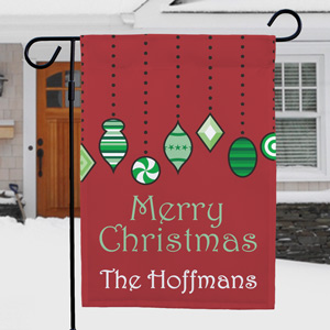 Personalized Holiday Ornaments Garden Flag | Personalized Christmas Flags