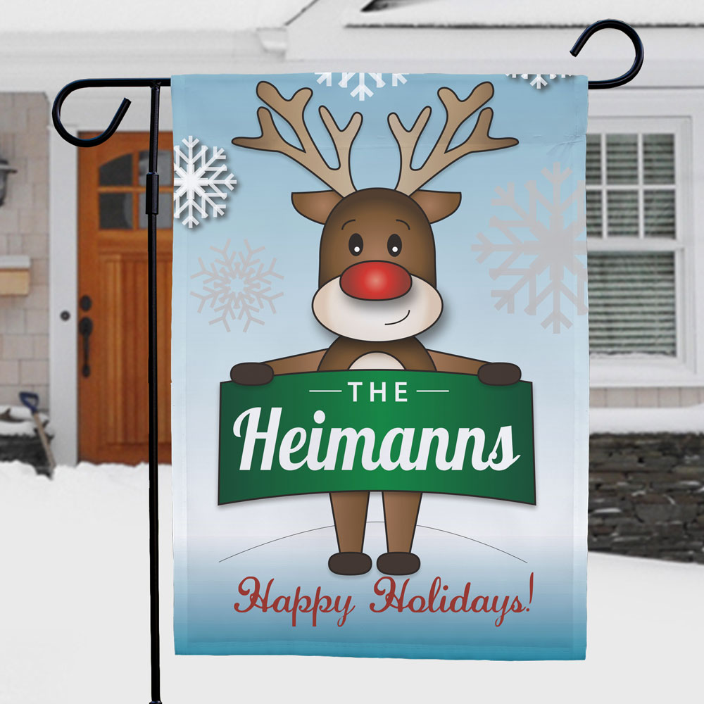Personalized Reindeer Welcome Garden Flag | Personalized Garden Flags