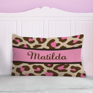 Personaized Pink Leopard Print Pillow | Personalized Pillowcases