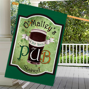 Personalized Old Irish Pub House Flag | Personalized House Flags