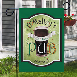 Personalized Old Irish Pub Garden Flag | Personalized Garden Flags
