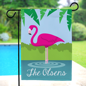 Personalized Pink Flamingo Garden Flag | Personalized Garden Flags
